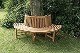 CLP 180° Teak Baum-Bank MALE, halbrund Ø ca. 115 cm / 200 cm (innen/außen), Teakholz, massiv, mit Rückenlehne braun
