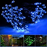 Lychee 17m 55ft 100LED Solar Waterproof Fairy String Light With 2 Modes for Outdoor Indoor Wedding Garden Home Party Christmas Decoration (Blue)