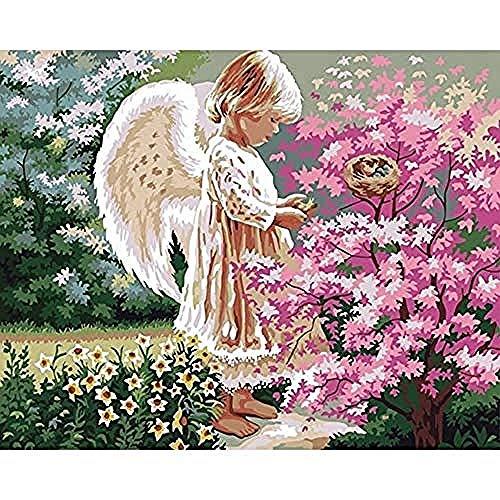 yhwygg DIY Ölgemälde Angel Girl DIY Gemälde Von Digital Acryl Home Decor Wandkunst Leinwand Gemälde - (40X50Cm) Mit Rahmen Malen Nach Zahlen