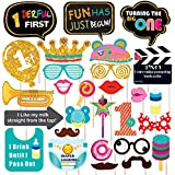 WOBBOX Hand Made First Birthday Party Props – Suitable for 1st Birthday His Or Hers Birthday Celebration Photo Booth Props for Birthday 28 Piece Kit