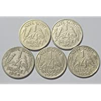 Coin Set of First Republic India Coins 1/4 Rupee 1950-1951-1954-1956-1956 ,, for Coins Collection