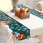 BESTOMZ Tovaglia di tabella natalizia Rettangolare in vetro gonfiabile della Tabella della tovaglia della tavola del corridore Natale Decorazione domestica del partito 110x180cm