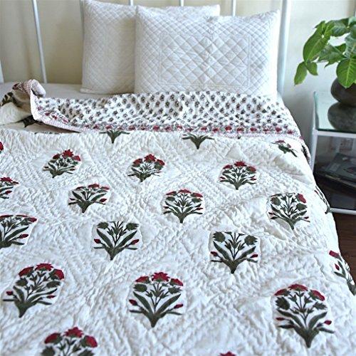 Shah Textile Bundi, Jaipuri Quilt/ Razai, Hand Block Printed and Handmade ~...