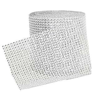 10 Yarde 24 Righe di Nastro di Strass Argento Diamante Avvolgono Matrimonio Decorazioni Partito Fai da te Supplies