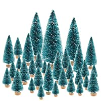 KUUQA 66Pcs Mini Christmas Trees Bottle Brush Trees Sisal Snow Pine Trees Architecture Trees Winter Snow Ornaments for Christmas Decorations Diorama Models