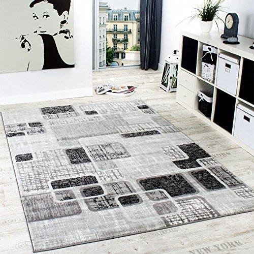 Alfombra De Diseño Para Sala De Estar Con Estilo Retro Shabby Chic Gris Crema, Grösse:80x150 cm