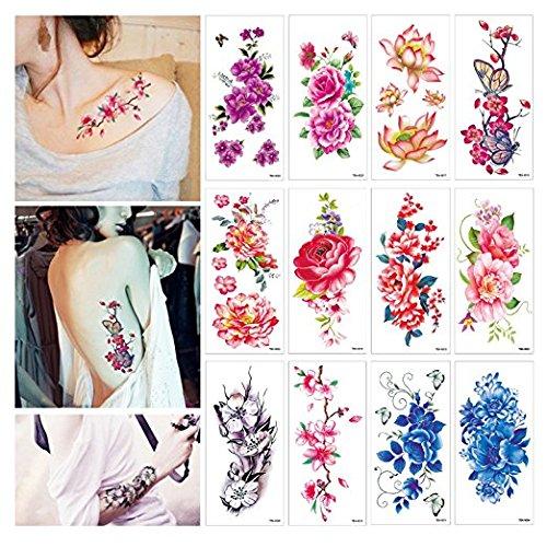 Tatuaggi adesivi floreali temporanei, loto, peonia, farfalla, fiori di ciliegio e farfalle, trasferimento rapido, 12 fogli