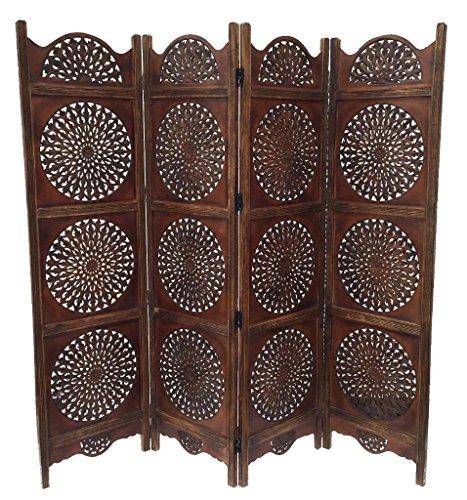 Raumteiler 4-panel-bildschirm (topfurnishing 4Panel Heavy Duty geschnitzt indischen Holz rund Aufkleber Blätter Design Bildschirm Raumteiler, 183x 50cm, 202cm breit offen, Holz, Hellbraun, 180x 60x 20cm)