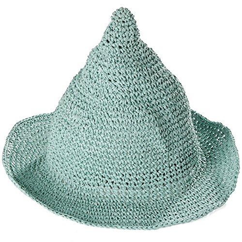 Ruikey Jungen Mädchen Baby Strand Hüte Breite Krempe Sommer Strand Hat Farbe Spire Hexe Hüte, grün, 52-54cm