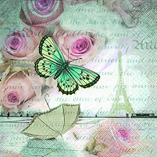 20 Servietten Romance in Paris - Romantik in Paris / Schmetterling / Liebe / Hochzeit 33x33cm