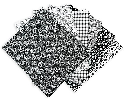 The Craft Cotton - Lotto di 6 scampoli di tessuto 45,72 x 55,88 cm, stampati, colori: nero e bianco - Quarter Fat Fq Bundle