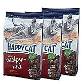 3 x 10 kg Happy Cat Katzenfutter Supreme Voralpen Rind