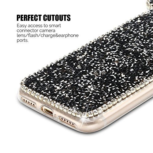 Coque iPhone 7 (5.0 pouce) , Bling Diamant Modèle TPU Case Rose Crystal Mignon Mickey Oreille Étui de Protection Flexible Soft Slim Souple Silicone Cover Anti Choc Ultra Mince Couverture Bumper Caoutc Noir