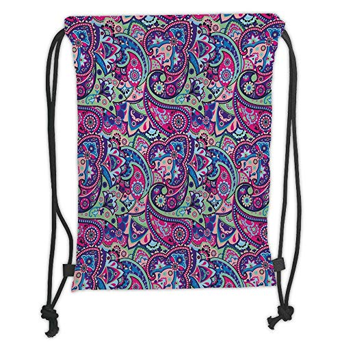 Old Navy Camo (OQUYCZ Drawstring Sack Backpacks Bags,Navy and Blush,Pattern Based on Traditional Asian Elements Paisley Old Fashioned Floral Decorative,Multicolor Soft Satin,5 Liter Capacity,Adjustable Strin)