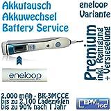 2000mAh Eneloop (3MCCE) Akkuwechsel mit bis zu 2100 Ladezyklen für alle OralB Triumph 5000 9000 9500 9700 9900 - Batterie Battery Akku Replacement Service Oral-B Akkutausch auch für 5500, 6500, 6000, 7000, 8000, 8300, 8500, 8900, 9400 und Modellnummern 3731, 3738 und 3762