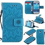 BoxTii Coque Galaxy S4 Mini, Etui en Cuir de Première Qualité [avec Gratuit Protection D'écran en Verre Trempé], Housse Coque pour Samsung Galaxy S4 Mini (#6 Bleu)