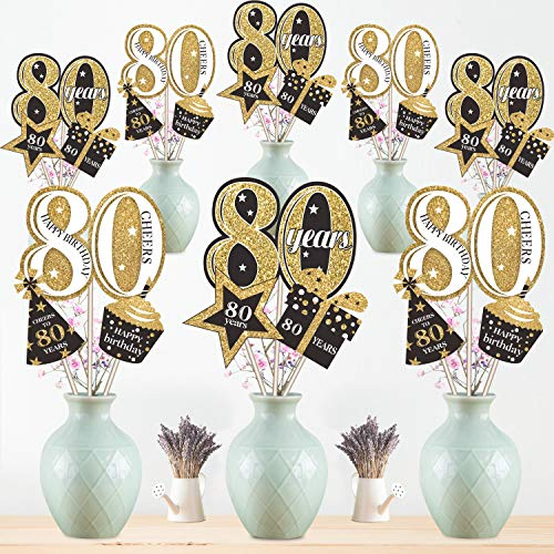Blulu 80. Geburtstag Party Dekoration Set Golden Tabelle Toppers Glitzer Geburtstagsparty Herzstück Sticks für 80. Geburtstagsparty Lieferungen, 24 Packungen