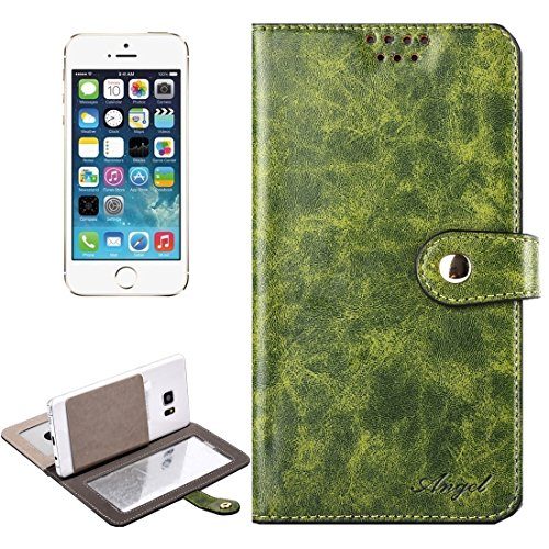iPhone Case Cover Étui en cuir universel horizontal Flip avec miroir & Holder & Card Slots & Wallet & Photo Frame pour iPhone 5 & 5s & SE, Taille: 13 x 7 x 1.5 cm ( Color : Army green ) Army green