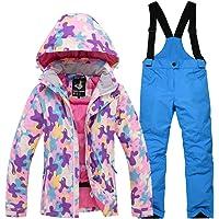 YFCH Bambini Ragazzi/Ragazze 2 Pezzi Tuta da Sci Cappuccio Antivento e Impermeabile Giacca da Sci + Pantaloni Invernali