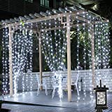 LE 306 LED Curtain Lights, 3m x 3m Plug in Daylight White Decorative Window Lights, 8 Modes Water Resistant Fairy String Lights for Garden, Gazebo, Party, Patio and more