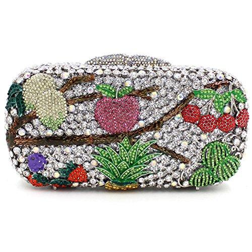 Damen Clutch Abendtasche Handtasche Geldbörse Glitzertasche Strass Kristall Frucht Tasche mit wechselbare Trageketten von Santimon(4 Kolorit) Mehrfarbig Silber