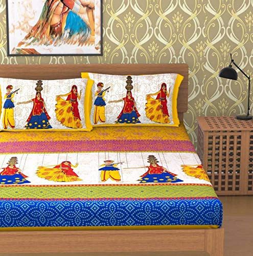 Ubania Collection 100% Cotton Rajasthani Jaipuri Double Bed Sheet with Two Pillow Covers - 356