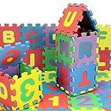 Spielmatte Spielteppich Puzzlematte Kinderteppich Matte Schutzmatte Kinderspielteppich Schaumstoffmatte ABC bunt Lernteppich Puzzleteppich Puzzle Zahlen 36tlg. 15.5 * 15.5 * 0.9CM