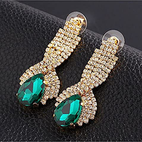 1 paire en or des femmes d'Oreille de Rhinestone Crystal Teardrop Dangle Earrings, vert