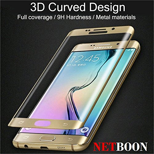 NETBOON® Original Samsung S6 Edge Plus 3D Curved Tempered Glass Screen Protector Full Protection / HD High-Transparency / Full Cover Curved / 3D Curved / Anti-Dust / Anti-Bubbles / Anti-Scratch Premium Quality 3D Gorilla Glass Guard for Samsung Galaxy S6 Edge Plus – Color Gold