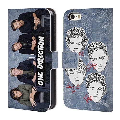 Offizielle One Direction Harry Im Voll Gruppenbild Solo Brieftasche Handyhülle aus Leder für Apple iPhone 5 / 5s / SE Grafische Gruppenbild
