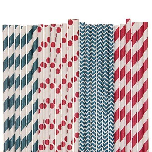 Creative Juice Cafe Rot, Weiß und Marine Blau Stroh Mix–Chevron, Gestreift, Polka Dots mehrfarbig red, navy blue, white