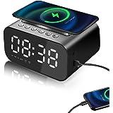 Reloj Despertador Digital, Altavoz inalámbrico portátil con Bluetooth, LED Pantalla Reloj Alarma Inteligente con Temperatura