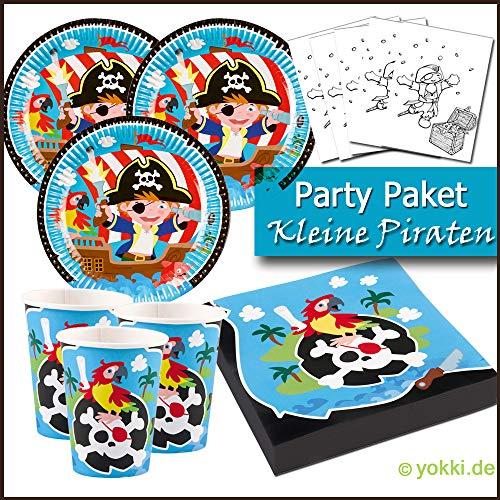 Kleine Piraten - Party Paket Kindergeburtstag Teller, Becher, Servietten, Postkarten