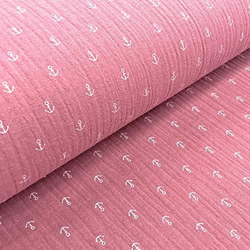 0,5m Musselin Anker-Muster Beere rosa Meterware 1,4m breit