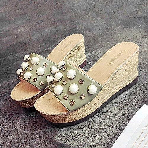 Estate Sandali Sandali estivi delle signore Pendenza spessa del fondo con i pattini alla moda della perla della spiaggia Colore / formato facoltativo Verde