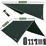 Bessport Tentzeil zonnezeil camping tarp voor hangmat PU 3000 mm waterdicht met oogjes + 6 haringen + 8 touwen, lichte regen