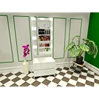 OMAARA The Makeup Icon Long Hollywood Mirror with 2 Drawers 9 Bright LED Bulbs Dressing Table