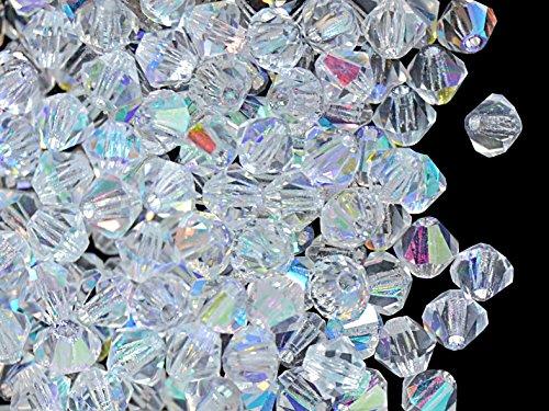 Glas-kegel-zubehör (30stk 4mm MC Bicone Beads - Tschechische Glasperlen in Form eines facettierten Doppelkegels, hergestellt durch maschinelles Schneiden, Crystal AB)