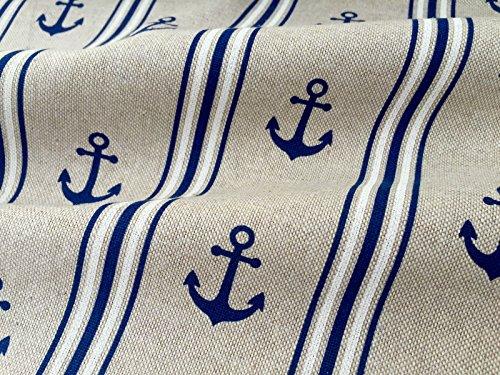 HomeBuy Marine Anker gestreift Print Stoff-Vorhang Polster-140cm-Marineblau & Weiß (Meterware)
