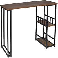 WOLTU Kitchen Bar Table with 2 Shelves and 2 Stools Set Breakfast Dining Table Black Coffee Table Strong Metal Frame BT31sz+BH130sz-2