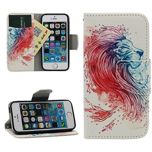 iPhone 5 5S SE Portefeuille Bourse Rabat Coque Case de Protection, Original Imprimé Peinture Poids Léger PU Cuir Étui de Protection - Animal Style Tigre blanc