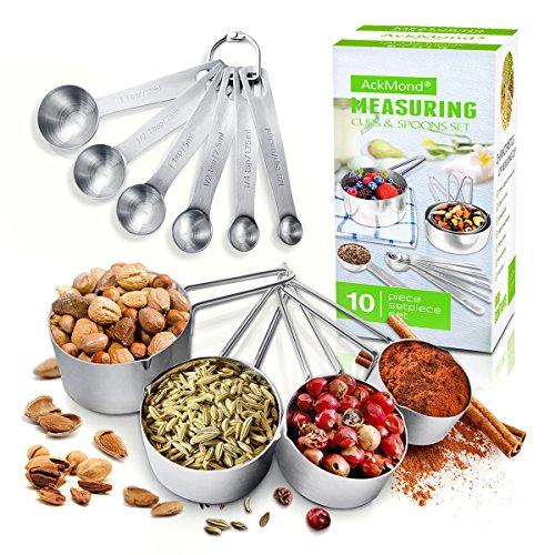 AckMond 10 piezas inoxidable cucharas de medición, taza de medición, para la medición en seco y los ingredientes líquidos