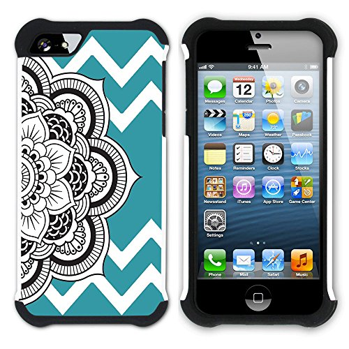 Graphic4You Mandala Blume Winkel Muster (Wasserblau) Hart + Weiche Kratzfeste Hülle Case Schale Tasche Schutzhülle für Apple iPhone SE / 5 / 5S Türkis