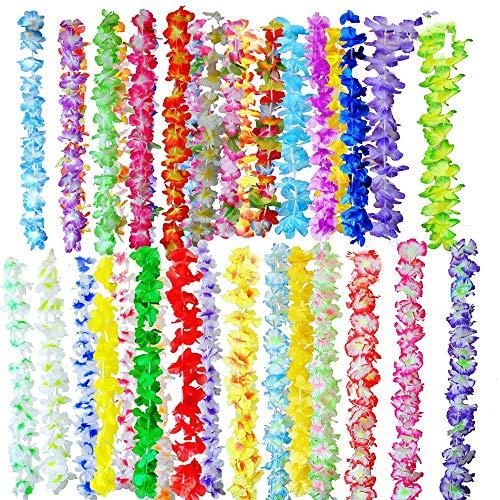 36 Stück Hawaiian Lei, Seidenblumen Halskette Armband, Blumengirlande für Sommer Beach Party Kostüm Kleid Curlies