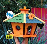 Futterhaus,Vogelhäuser wetterfest, mit Silo,Futtersilo für Winterfütterung,mit Beleuchtung LED-Licht -Holz Nistkästen & Vogelhäuser- Futterstation aus Holz mit Silo Holz grün BLAU BRL60g-bEOS, Futterhaus