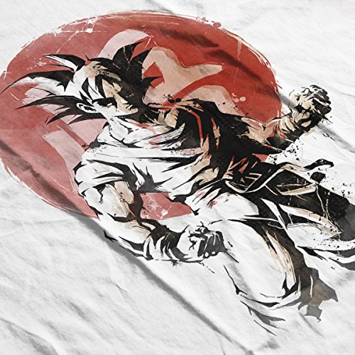 Rising Saiyan Son Goku Dragon Ball Super Men's Baseball Long Sleeved T-Shirt White/Black