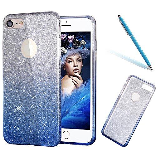 iPhone 8Plus Hülle, CLTPY iPhone 7Plus Luxury Hybrid [3 in 1] Farbverlauf Blau Silikon Outside + Bling Glitterfolie + Transparent Hart Plastik Tasche für Apple iPhone 7Plus/8Plus + 1 x Freier Stylus Farbverlauf Blau