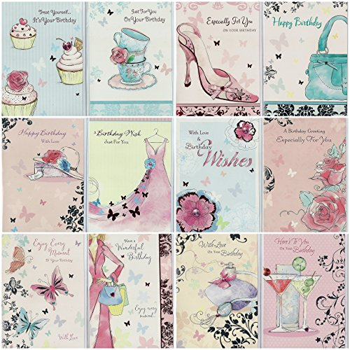 selective-pack-of-12-assorted-delicate-lady-art-design-birthday-cards-metallic-finish