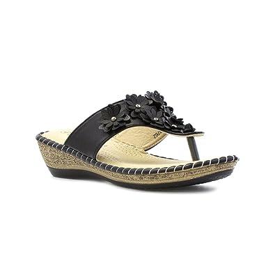 7ea931f15 Softlites Womens Black Toe Post Sandal with Flower - Size 3 UK - Black