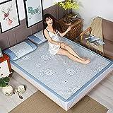 zlzty Summer Ice Silk mat dreiteilige Faltmatte Dicke Klimaanlage Matte, Einzelbettbezug, Einzelbettwäsche, Kingsize-Bettwäschesatz @ Cartoon Bear_200 * 220cm